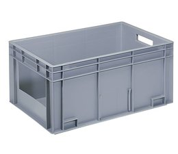 Euronorm bak 600x400x280 mm gesloten wanden met frontopening, voor zware lasten en voedingsgeschikt