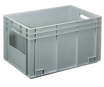 Euro container 600x400x340 solid wall with open front