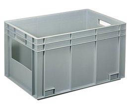 Euronorm bak 600x400x340 mm gesloten wanden met open frontzijde, voor zware lasten en voedingsgeschikt