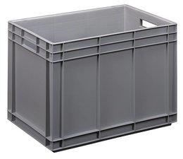 Bac norme Europe 600x400x420 mm fond et parois plein(es), pour charges lourdes et usage alimentaire