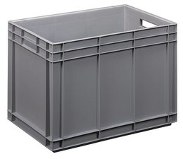 Eurocontainer 600x400x420 mm solid walls and bottom, heavy duty, food proved plastic