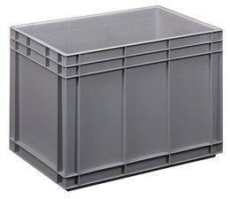 Euronorm bak 600x400x420 mm gesloten wanden en bodem, voor zware lasten en voedingsgeschikt