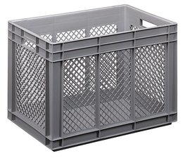 Eurocontainer 600x400x420 mm perforated side walls, heavy duty, food proved plastic