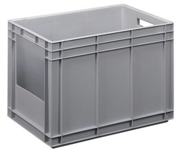 Eurocontainer 600x400x420 mm solid wall with open front, heavy duty, food proved plastic