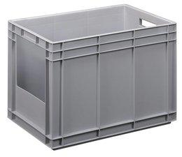 Euronorm bak 600x400x420 mm gesloten wanden met open front zijde, voor zware lasten en voedingsgeschikt