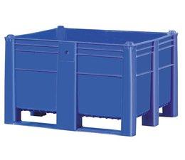 DOLAV Palettenbox 1200x1000x740 mm, Volumen 600 l, 2 Kufen, geeignet für schwere Lasten und Lebensmittekontakt
