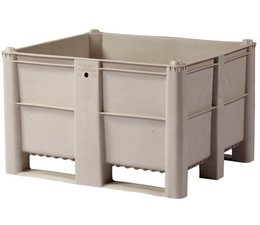 DOLAV Box pallet 1200x1000x740 mm, volume 600 l, 2 skids, heavy duty, food proved plastic