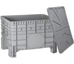 Großvolumenbehälter 1040x640x670 mm, mit Deckel, 4Füße, 285L geschlossen