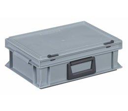 Kunststof koffer stapelbak met deksel en handgreep 10,4L, 400x300x133 Grijs