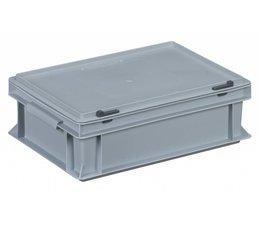 Bac avec couvercle intégré et articulé 400x300x133, Gris