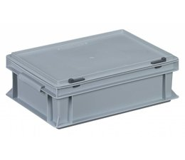 Plastic container with integrated lid 400x300x133, Grey