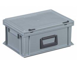 Kunststof koffer stapelbak met deksel en handgreep, 14,9L, 400x300x183