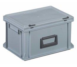 Kunststof koffer stapelbak met deksel en handgreep 19,5 L, 400X300x233 mm