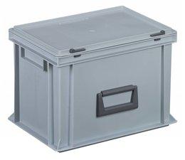 Kunststof koffer stapelbak met deksel en handgreep 24 L, 400X300x283 mm