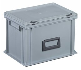 Kunststofkoffer Stapelbehälter mit Deckel und Handgriff 24L, 400X300x283 mm