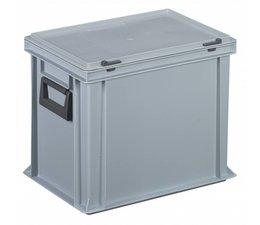 Kunststof koffer stapelbak met deksel en 2 handgrepen 28,5 L, 400X300x333 mm