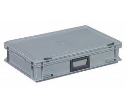 Kunststof koffer stapelbak met deksel en handgreep 22.7 L, 600X400x133 mm