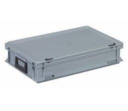 Kunststof koffer stapelbak met deksel en 2 handgrepen 22.7 L, 600X400x133 mm