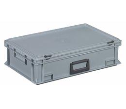 Kunststof koffer stapelbak met deksel en handgreep 28.3 L, 600X400x163 mm