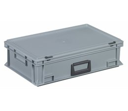 Kunststofkoffer Stapelbehälter mit Deckel und Handgriff 28.3 L, 600X400x163 mm