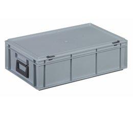 Kunststof koffer stapelbak met deksel en 2 handgrepen 32,5 L, 600X400x183 mm