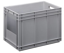 Stacking container with open side