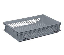 Glazenkrat 600x400x120 mm geperforeerde wanden en bodem, voedingsgeschikte kwaliteit