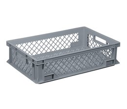 Crate for glasses 600x400x150 mm perforated walls and bottom, food proved plastic