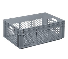Crate for glasses 600x400x220 mm perforated walls and bottom, food proved plastic