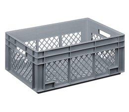 Glazenkrat 600x400x236 mm geperforeerde wanden en bodem, voedingsgeschikte kwaliteit