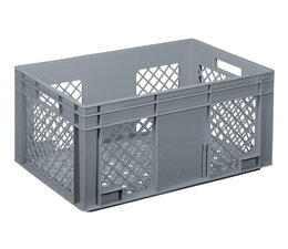 Crate for glasses 600x400x280 mm perforated walls and bottom, food proved plastic