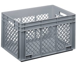 Crate for glasses 600x400x338 mm perforated walls and bottom, food proved plastic