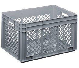 Glazenkrat 600x400x338 mm geperforeerde wanden en bodem, voedingsgeschikte kwaliteit