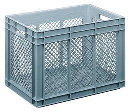 Glazenkrat 600x400x416 mm geperforeerde wanden en bodem, voedingsgeschikte kwaliteit