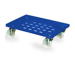 Transport trolley 620x420x170mm with 4 polyamide castors perforated deck