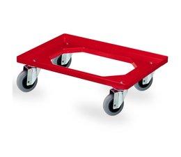 Transportroller 620x420x170mm met 4 rubber zwenkwielen, open dek