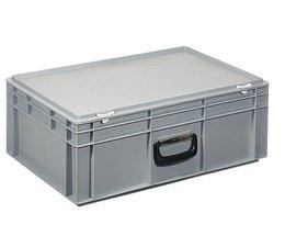 Kunststof koffer stapelbak met deksel en handgreep 42,4 L, 600X400x233 mm