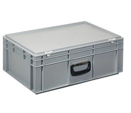 Plastic cases with cover lid and handles, 42,4 L, 600X400x233 mm
