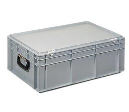 Kunststof koffer stapelbak met deksel en twee handgreepen 42,4 L, 600X400x233 mm