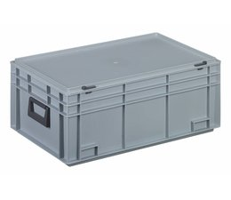 Kunststof koffer stapelbak met deksel en twee handgreepen 45,5 L, 600X400x249 mm