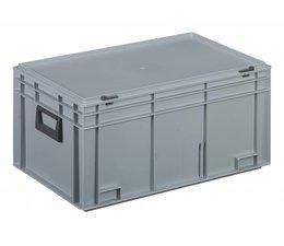 Kunststof koffer stapelbak met deksel en twee handgreepen 53,5 L, 600X400x293 mm