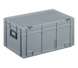 Plastic cases with cover lid and two handles, 53,5 L, 600X400x293 mm