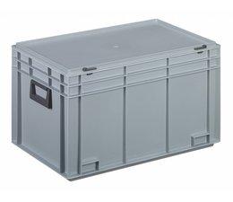 Kunststof koffer stapelbak met deksel en twee handgreepen 65,4 L, 600X400x355 mm