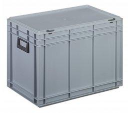 Kunststof koffer stapelbak met deksel en twee handgreepen 79,9 L, 600X400x433 mm