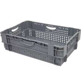 Stack nest container 600x400x190 perforated, 4 grips 26 Liter
