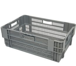 Stack nest container 600x400x245 perforated, 4 grips 47 Liter