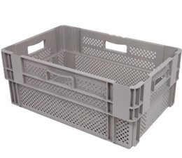Stack nest container 600x400x320 perforated, 4 grips 60 Liter