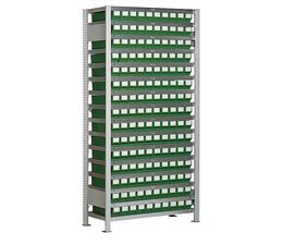 Boltless shelving with 150 rack boxes