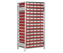 Boltless shelving with 75 rack boxes