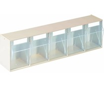 Modules de bacs basculants transparents 600x164x133 • 5 compartiments
